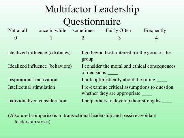 transactional style inventory And transactional subscales and the tacit knowledge for military leaders inventory (tkml) leader-level specific situational judgment test scenarios design/methodology/approach: two leadership measures, the behavioral construct multifactor leadership questionnaire (mlq) and the cognitive construct tacit knowledge for military leaders inventory.