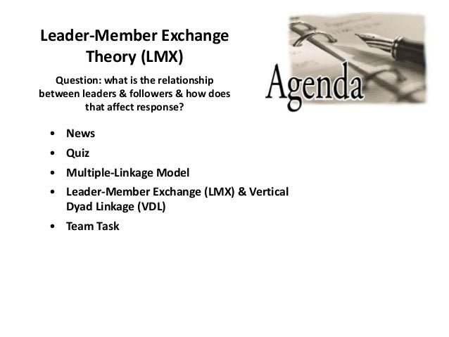 Leader-Member Exchange Theory (LMX) • News • Quiz • Multiple-Linkage Model • Leader-Member Exchange (LMX) & Vertical Dyad ...