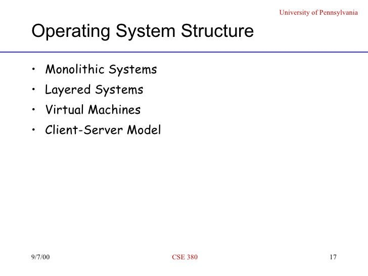 Operating System Structure <ul><li>Monolithic Systems </li></ul><ul><li>Layered Systems </li></ul><ul><li>Virtual Machines...