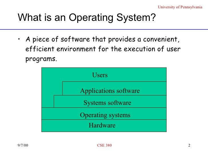 What is an Operating System? <ul><li>A piece of software that provides a convenient, efficient environment for the executi...