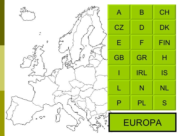 CH B DK D FIN F H GR IS IRL NL N S PL A CZ E GB I L P EUROPA