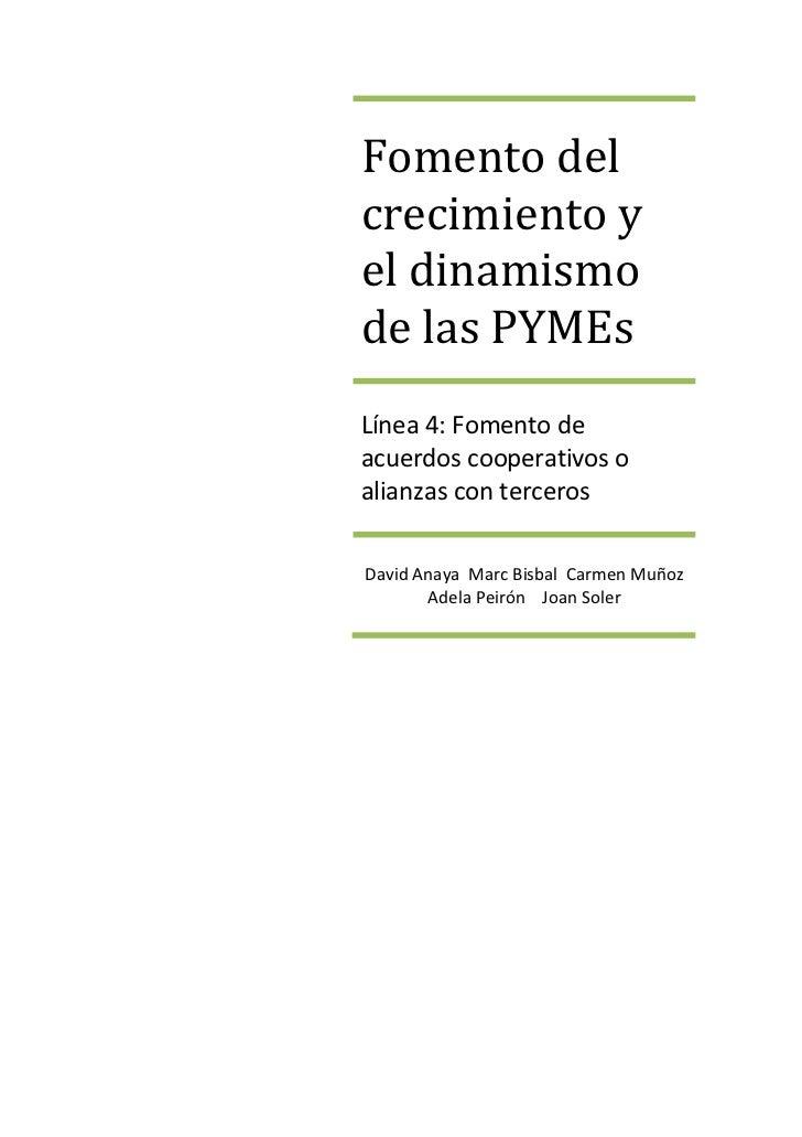 Fomento delcrecimiento yel dinamismode las PYMEsLínea 4: Fomento deacuerdos cooperativos oalianzas con tercerosDavid Anaya...