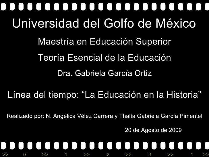 """Maestría en Educación Superior Teoría Esencial de la Educación Universidad del Golfo de México Línea del tiempo: """"La Educa..."""