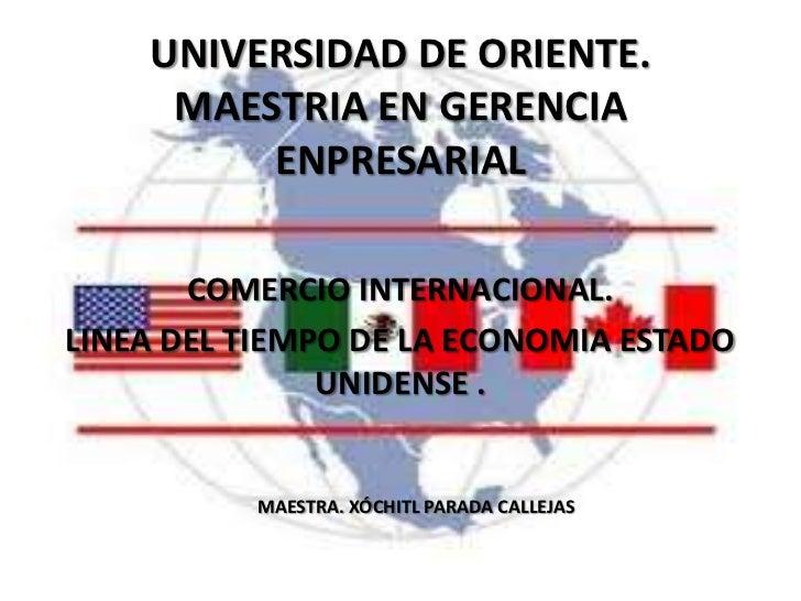 UNIVERSIDAD DE ORIENTE.     MAESTRIA EN GERENCIA         ENPRESARIAL       COMERCIO INTERNACIONAL.LINEA DEL TIEMPO DE LA E...