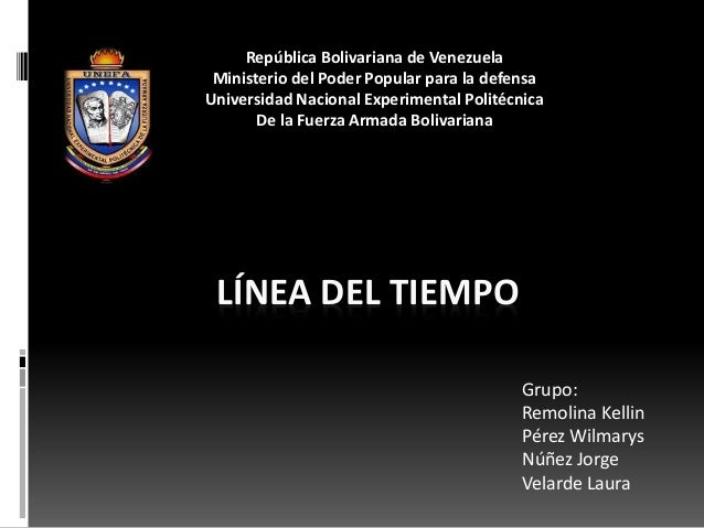 LÍNEA DEL TIEMPO Grupo: Remolina Kellin Pérez Wilmarys Núñez Jorge Velarde Laura República Bolivariana de Venezuela Minist...