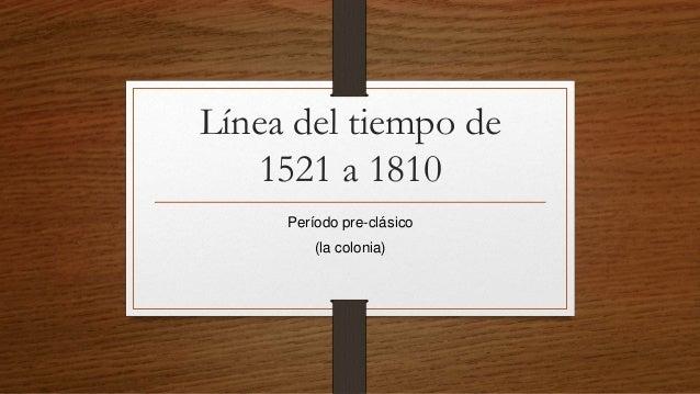 Línea del tiempo de 1521 a 1810 Período pre-clásico (la colonia)