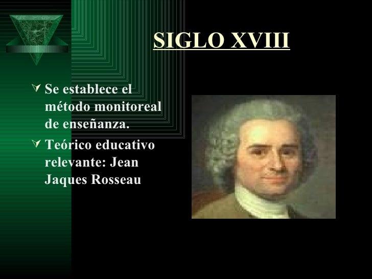 SIGLO XVIII <ul><li>Se establece el método monitoreal de enseñanza. </li></ul><ul><li>Teórico educativo relevante: Jean Ja...
