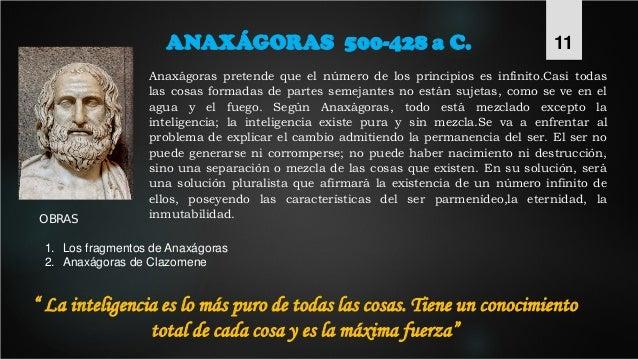 ANAXÁGORAS 500-428 a C. Anaxágoras pretende que el número de los principios es infinito.Casi todas las cosas formadas de p...