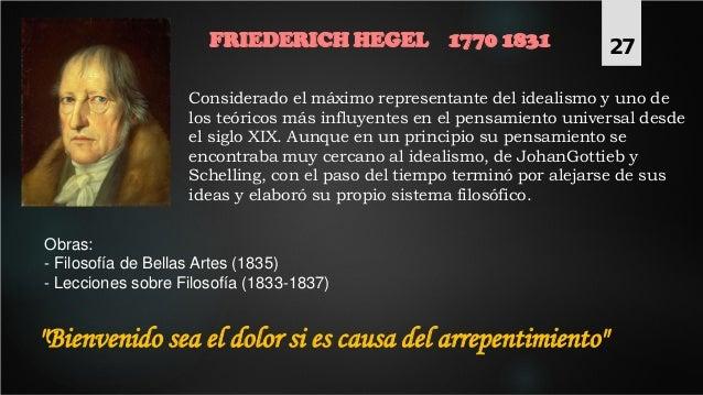 FRIEDERICH HEGEL 1770 1831 Considerado el máximo representante del idealismo y uno de los teóricos más influyentes en el p...