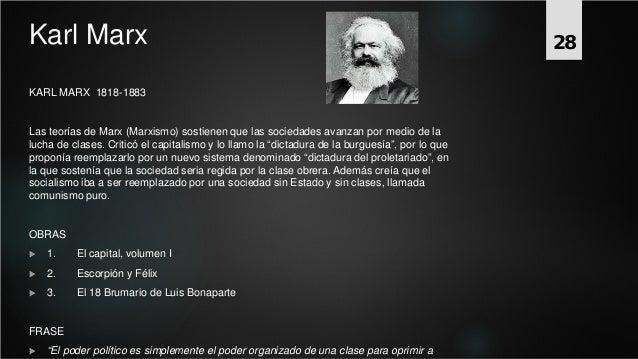 Karl Marx KARL MARX 1818-1883 Las teorías de Marx (Marxismo) sostienen que las sociedades avanzan por medio de la lucha de...