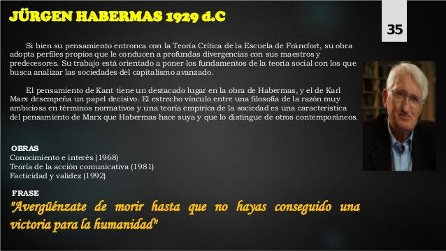 JÜRGEN HABERMAS 1929 d.C Si bien su pensamiento entronca con la Teoría Crítica de la Escuela de Fráncfort, su obra adopta ...