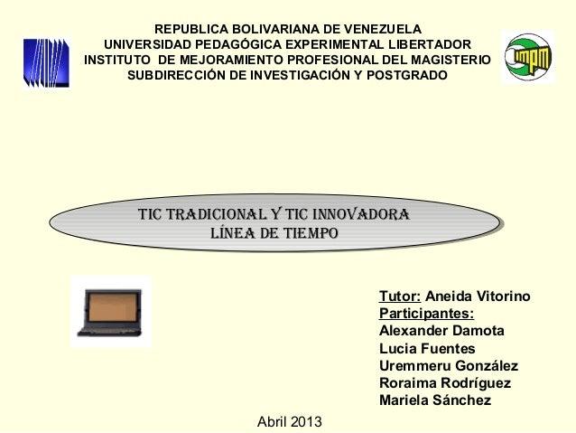 REPUBLICA BOLIVARIANA DE VENEZUELAUNIVERSIDAD PEDAGÓGICA EXPERIMENTAL LIBERTADORINSTITUTO DE MEJORAMIENTO PROFESIONAL DEL ...