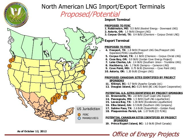 Proposed/Potential LNG Import/Export Terminals Map