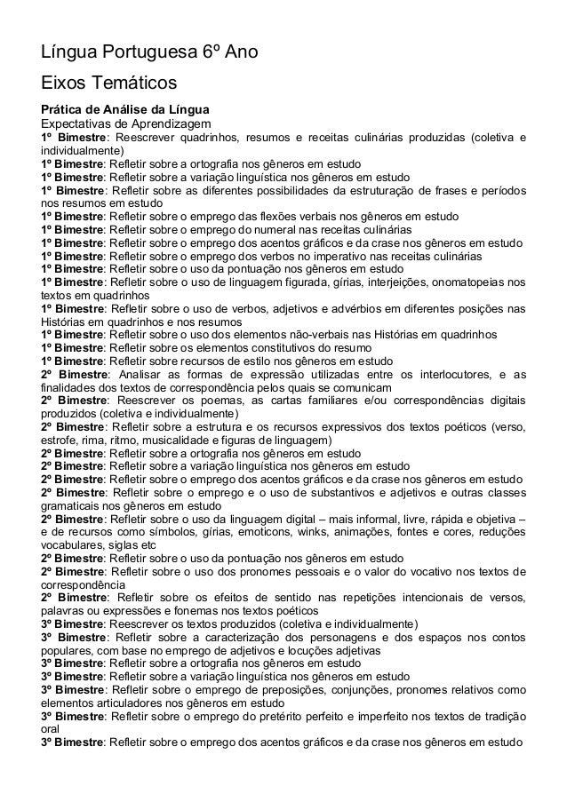 Língua Portuguesa 6º Ano Eixos Temáticos Prática de Análise da Língua Expectativas de Aprendizagem 1º Bimestre: Reescrever...