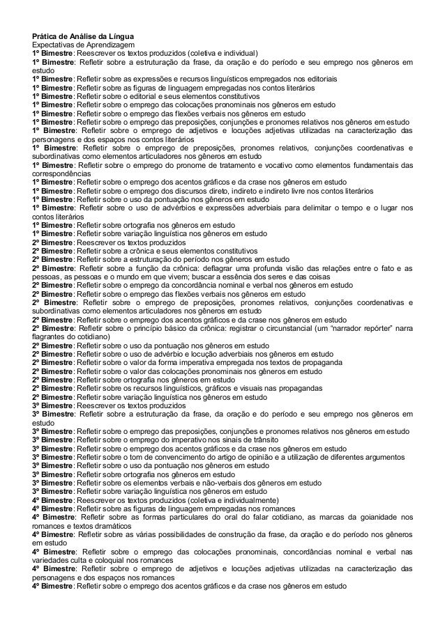 Prática de Análise da Língua Expectativas de Aprendizagem 1º Bimestre: Reescrever os textos produzidos (coletiva e individ...