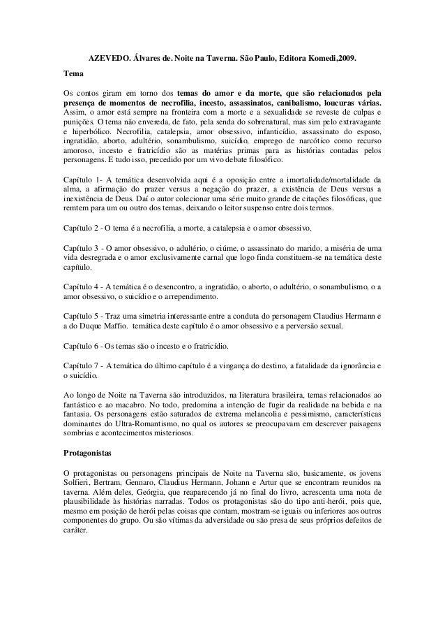 AZEVEDO. Álvares de. Noite na Taverna. São Paulo, Editora Komedi,2009. Tema Os contos giram em torno dos temas do amor e d...