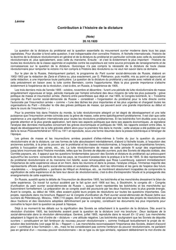 Lénine                                            Contribution à l'histoire de la dictature                               ...