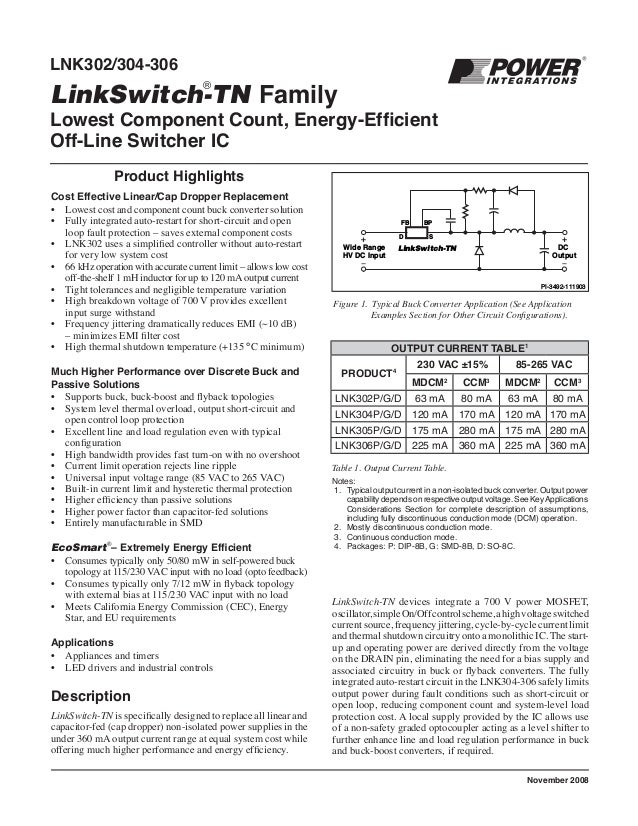 Table 1. Output Current Table. Notes: 1. Typical output current in a non-isolated buck converter. Output power capability ...