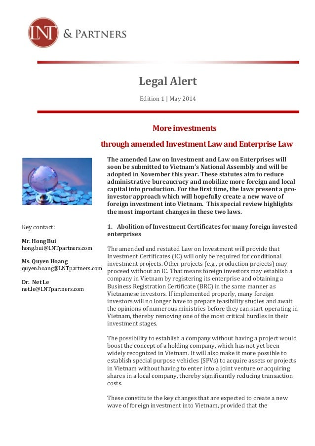 Legal Alert Edition 1 | May 2014 Moreinvestments throughamendedInvestmentLawandEnterpriseLaw The amended Law on Investment...