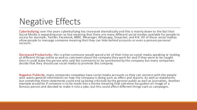 positive and negative effects of social media essay Mass media has had both positive and negative effects on people, especially young people who have grown up consuming media from.