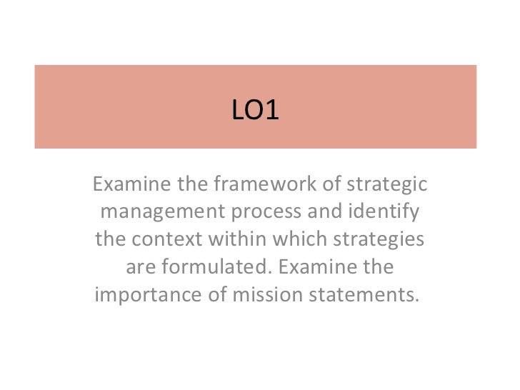 LO1Examine the framework of strategic management process and identifythe context within which strategies   are formulated....