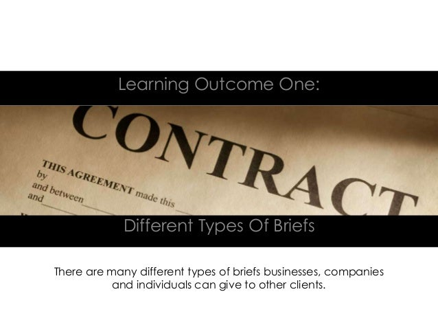 Different Types Of BriefsLearning Outcome One:There are many different types of briefs businesses, companiesand individual...
