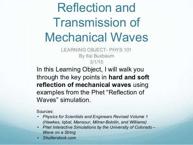 Reflection and Transmission of Mechanical Waves LEARNING OBJECT- PHYS 101 By Itai Buxbaum 3/1/15 In this Learning Object, ...