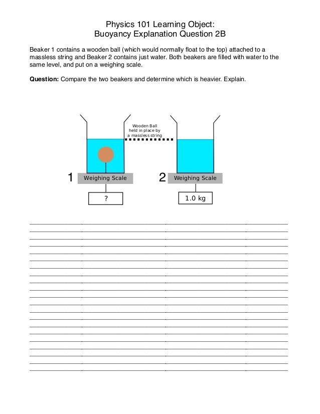 Physics 101 Learning Object:! Buoyancy Explanation Question 2B ! Beaker 1 contains a wooden ball (which would normally floa...