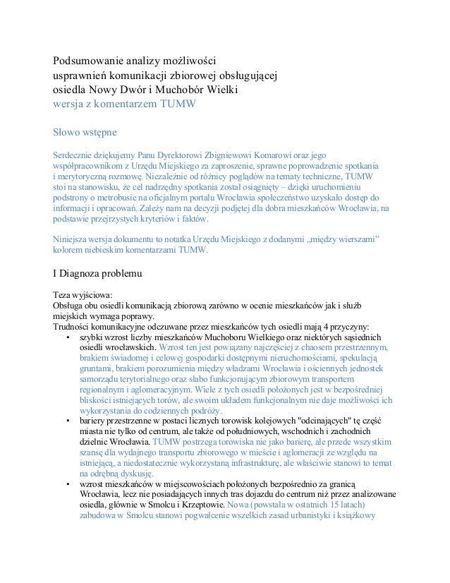 Podsumowanieanalizymożliwości usprawnieńkomunikacjizbiorowejobsługującej osiedlaNowyDwóriMuchobórWielki wersj...