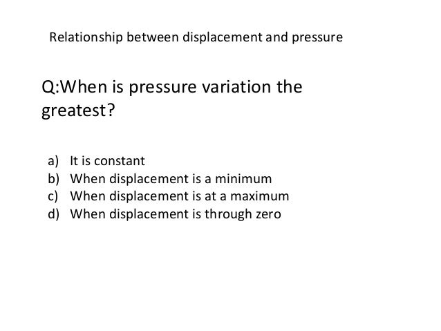 Relationship between displacement and pressure Q:When is pressure variation the greatest? a) It is constant b) When displa...