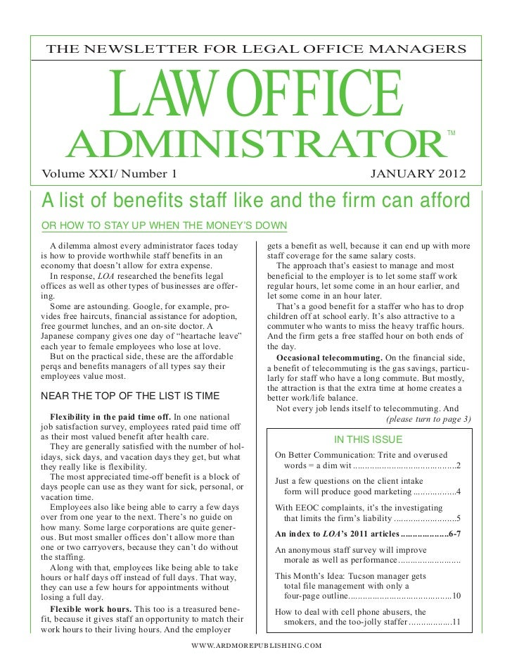 LAWOFFICE THE NEWSLETTER FOR LEGAL OFFICE MANAGERS      ADMINISTRATOR                                                     ...