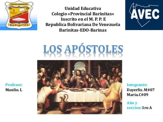 Unidad Educativa Colegio «Provincial Barinitas» Inscrito en el M. P. P. E Republica Bolivariana De Venezuela Barinitas-EDO...