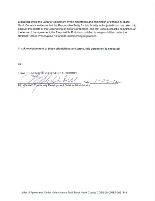 Letter Of Agreement Loa Black Hawk County Bridge Replacement And Tr