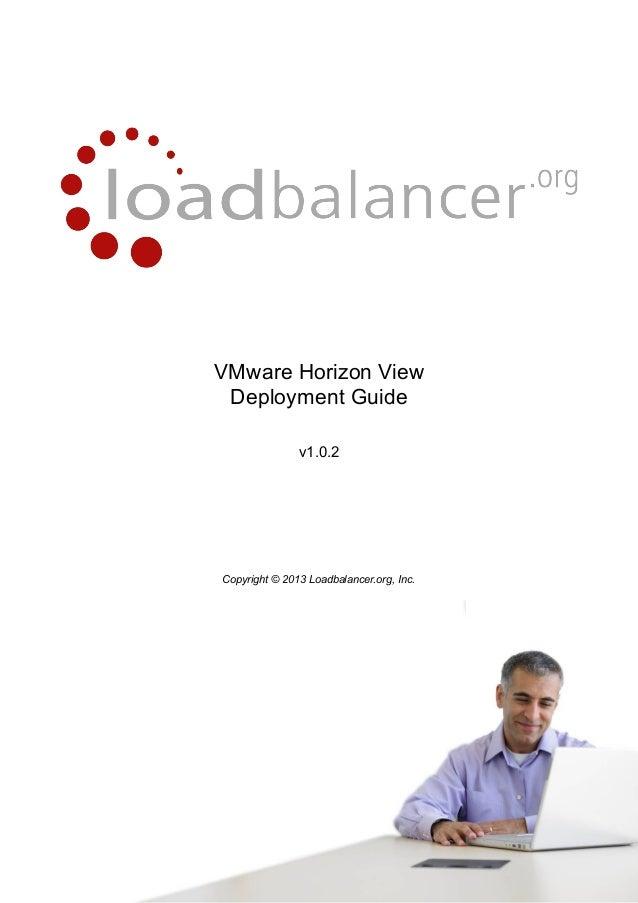 VMware Horizon View Deployment Guide v1.0.2 load balancing view load balancing vmware view load balancing vmware horizon v...