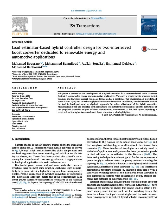 Research Article Load estimator-based hybrid controller design for two-interleaved boost converter dedicated to renewable ...