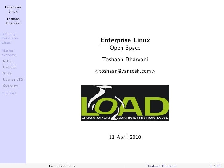 Enterprise    Linux    Toshaan   Bharvani  Defining Enterprise Linux                             Enterprise Linux Market   ...