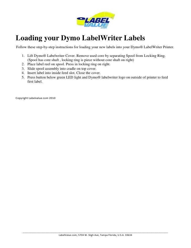 Loading Dymo Label Writer Labels