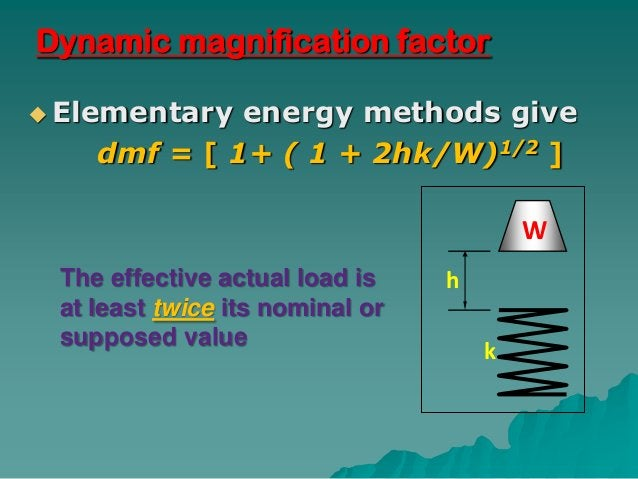 Dynamic magnification factor Elementary energy methods give    dmf = [ 1+ ( 1 + 2hk/W)1/2 ]                              ...