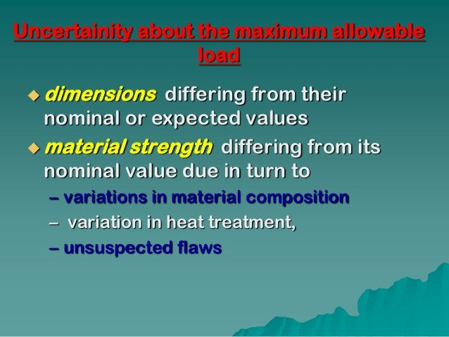 Uncertainity about the maximum allowable                   load  dimensions   differing from their   nominal or expected ...