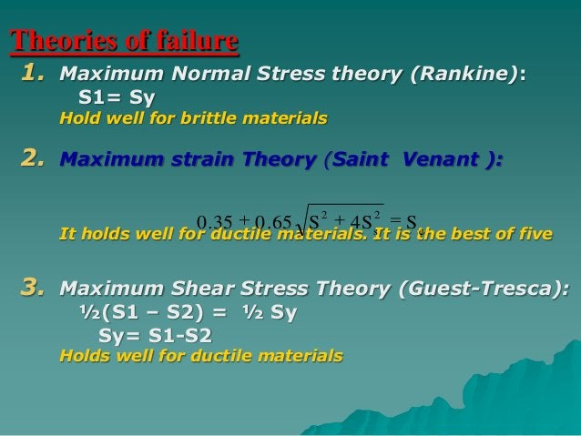 Theories of failure  1. Shear energy theory (Von Mises):                      2        2                  S       3S   s  ...