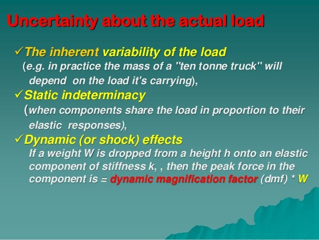 """Uncertainty about the actual loadThe inherent variability of the load  (e.g. in practice the mass of a """"ten tonne truck"""" ..."""