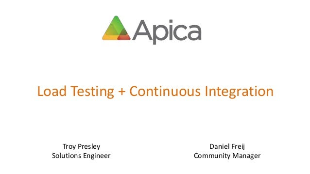 Load Testing + Continuous Integration Troy Presley Solutions Engineer Daniel Freij Community Manager