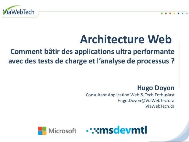 Architecture Web Comment bâtir des applications ultra performante avec des tests de charge et l'analyse de processus ? Hug...