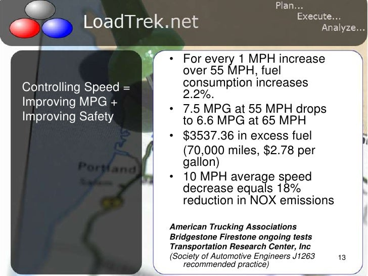 13<br />Controlling Speed = Improving MPG + Improving Safety<br />For every 1 MPH increase over 55 MPH, fuel consumption i...