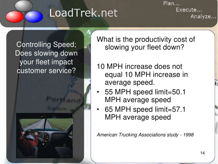 14<br />Controlling Speed;Does slowing down your fleet impact customer service?  <br />What is the productivity cost of sl...