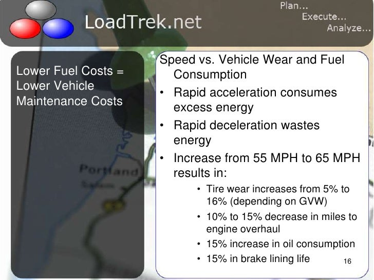 16<br />Speed vs. Vehicle Wear and Fuel Consumption<br />Rapid acceleration consumes excess energy<br />Rapid deceleration...