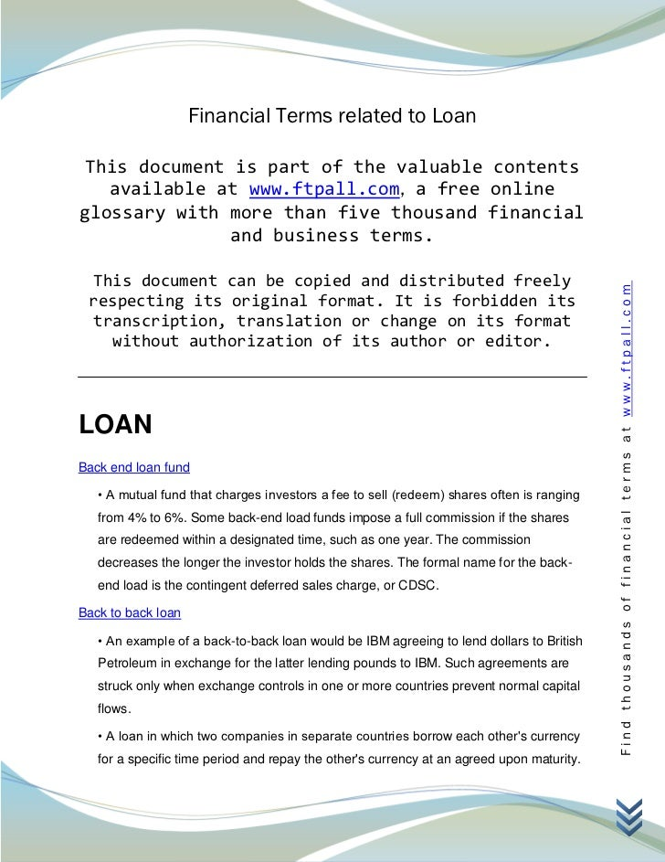 Financial Terms related to Loan This document is part of the valuable contents   available at www.ftpall.com, a free onlin...