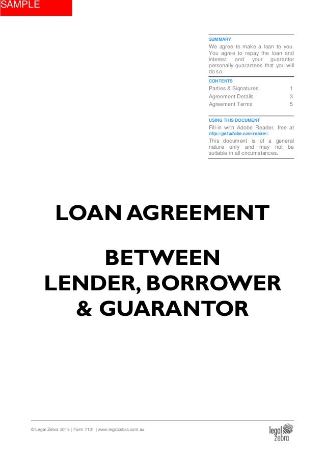 Loan Agreement Between Lender Borrower Guarantor Template Sample