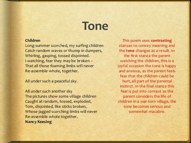 how to talk about tone in a poem