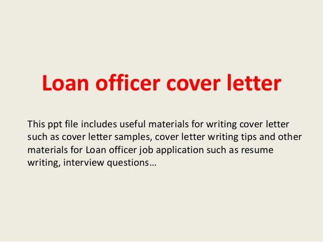 Loan officer cover letter